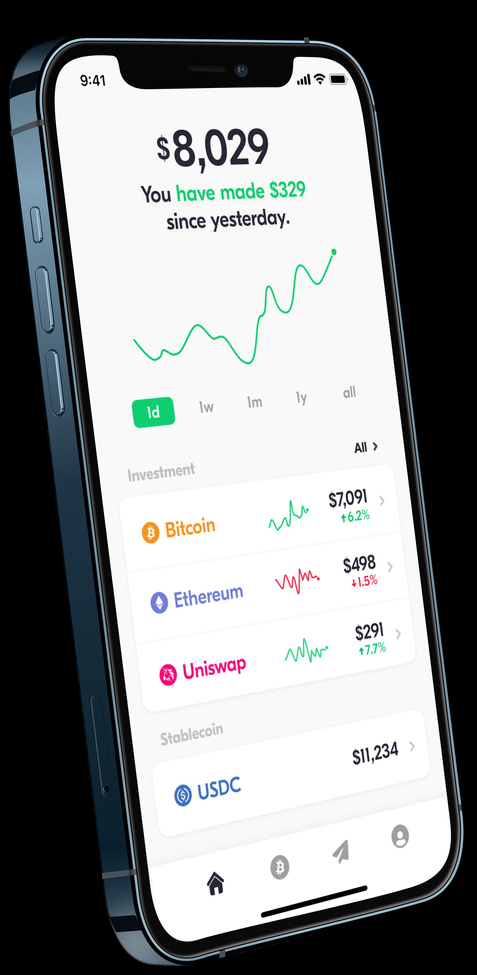 Spot bitcoin & crypto wallet mobile app.