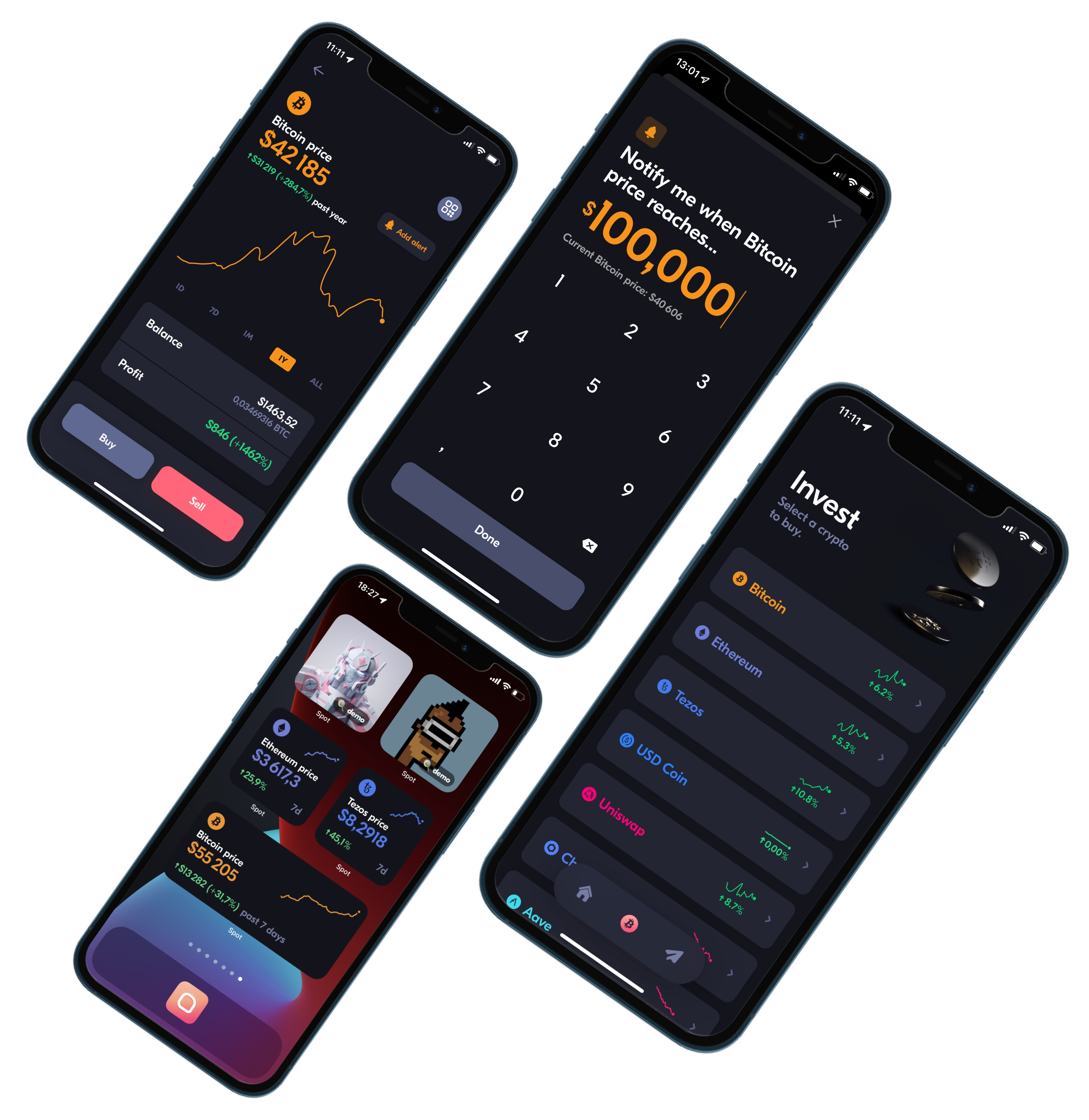 Buy, sell, price alerts, NFT widgets, tezos, ethereum, bitcoin