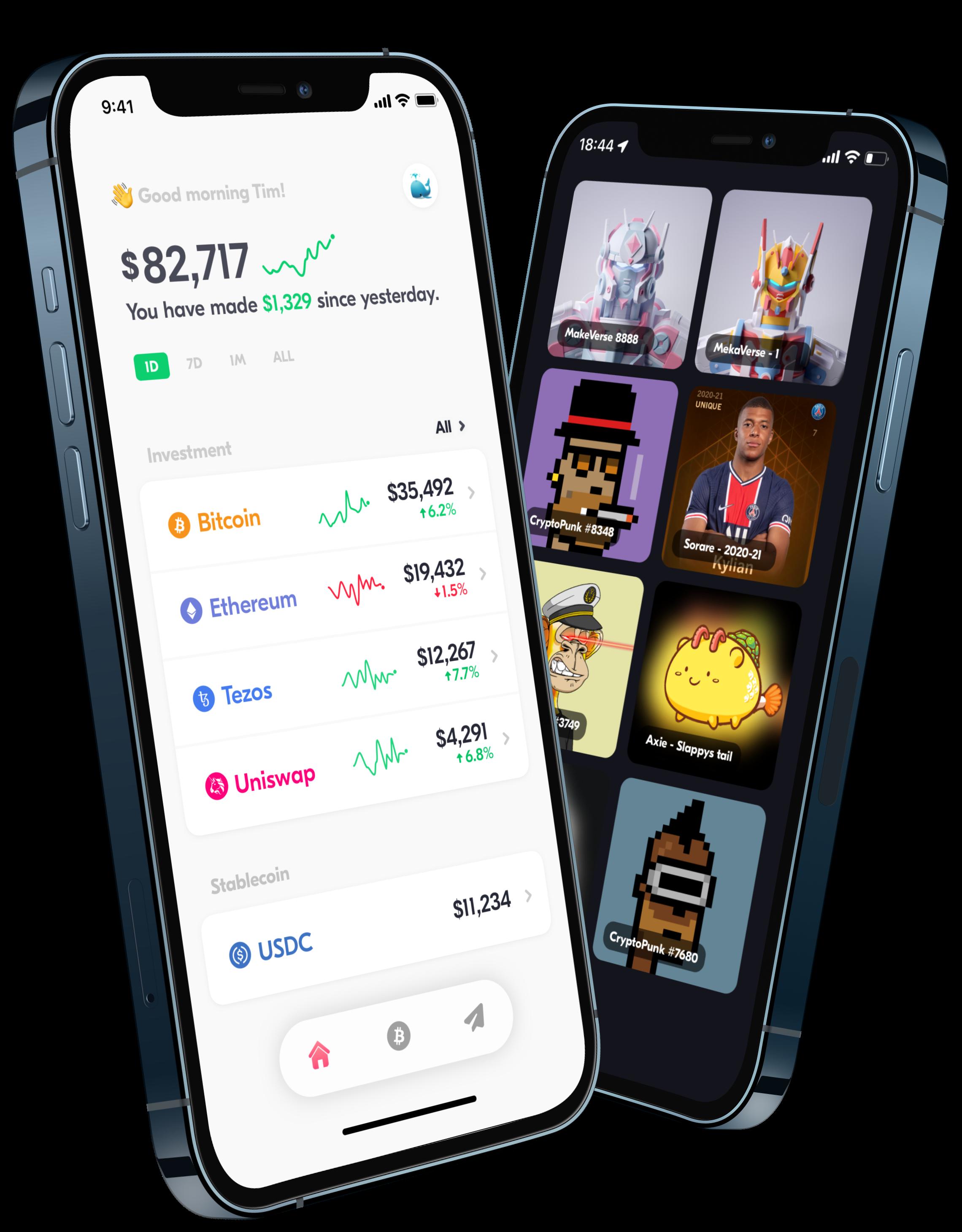 Spot wallet NFT, Bitcoin, Ethereum, Tezos