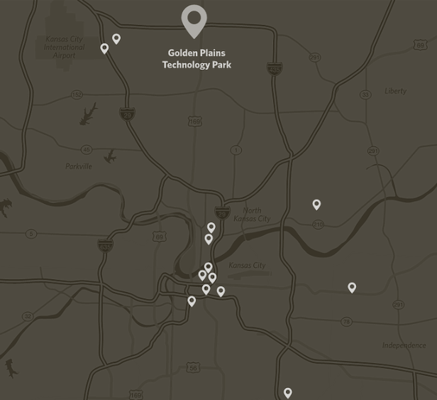Map of the location for Great Plains Technology Park