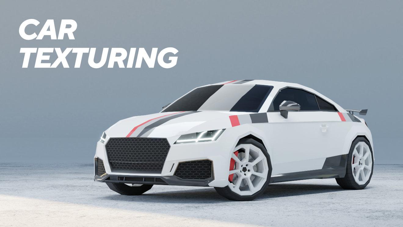 Texturing Car Game Asset In Blender 2.9 (Timelapse Tutorial)