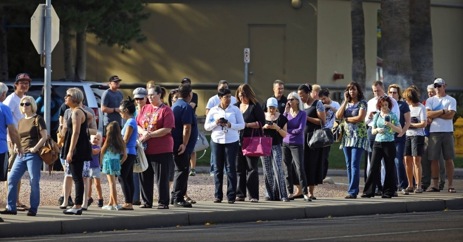 Voters waiting outside polling place in Arizona