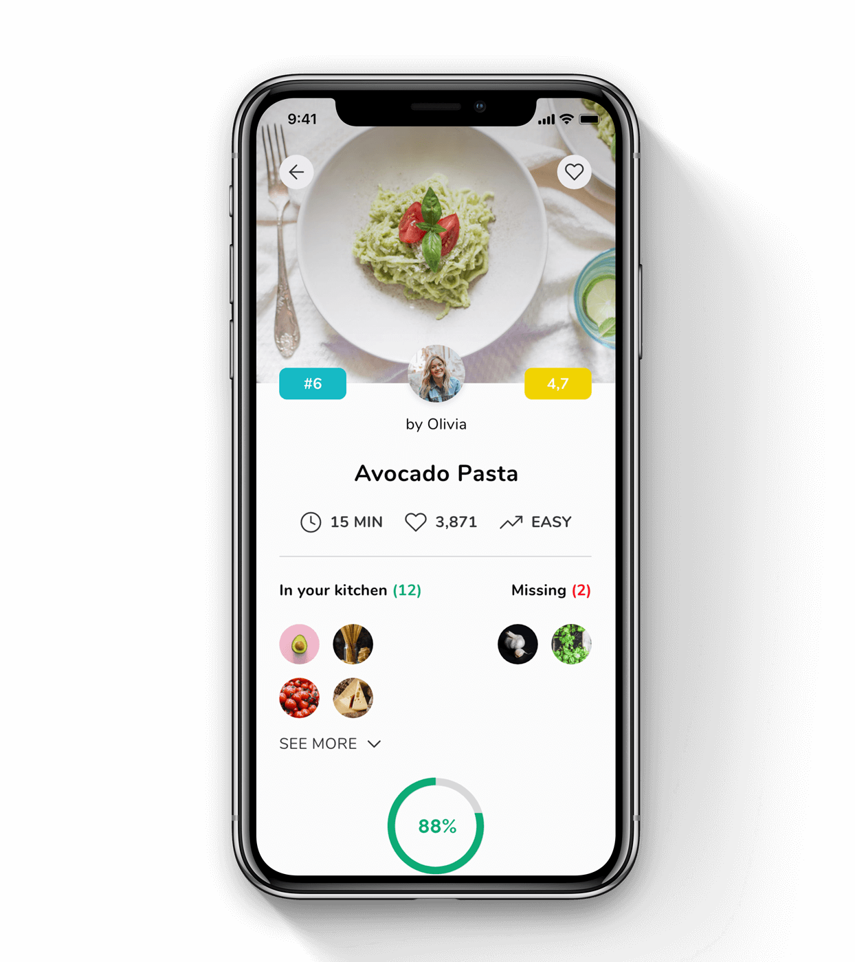 Image of the phone with recipe app product page