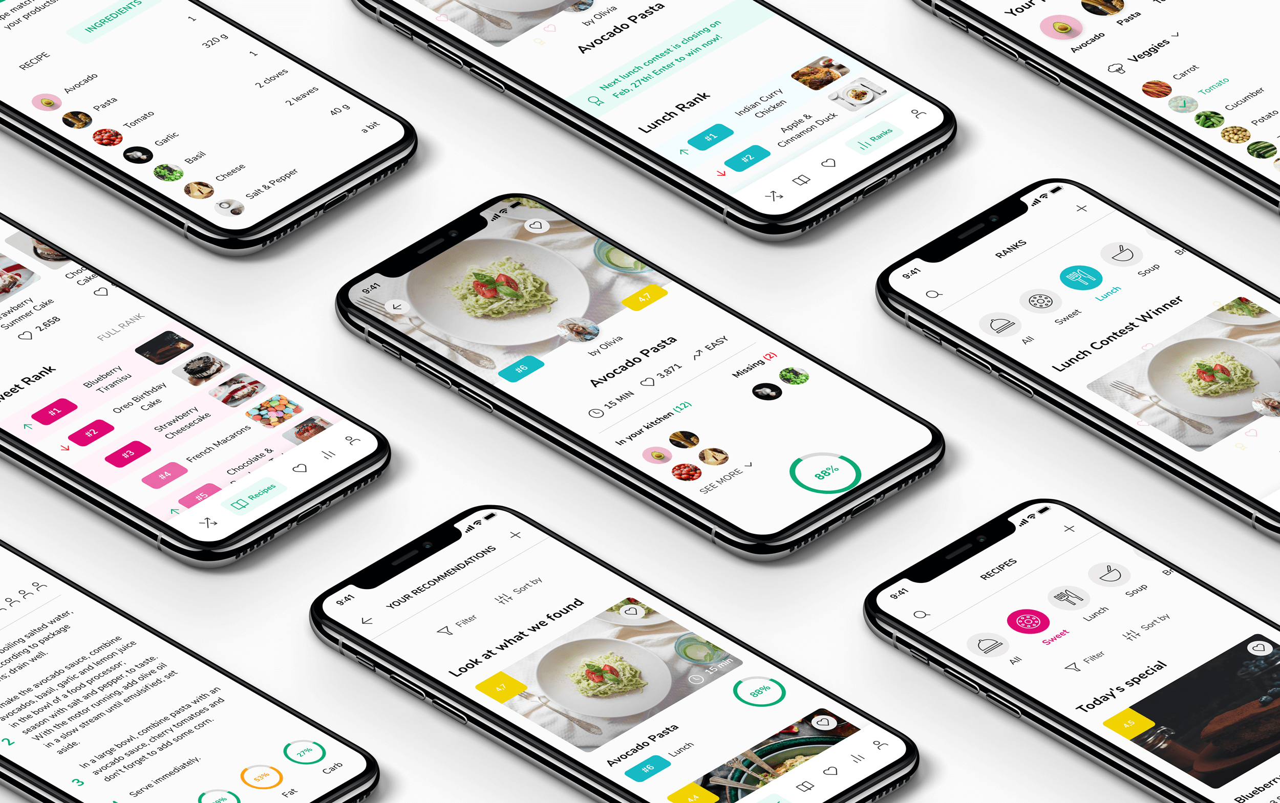 A set of isometric phone screens showing recipe app project
