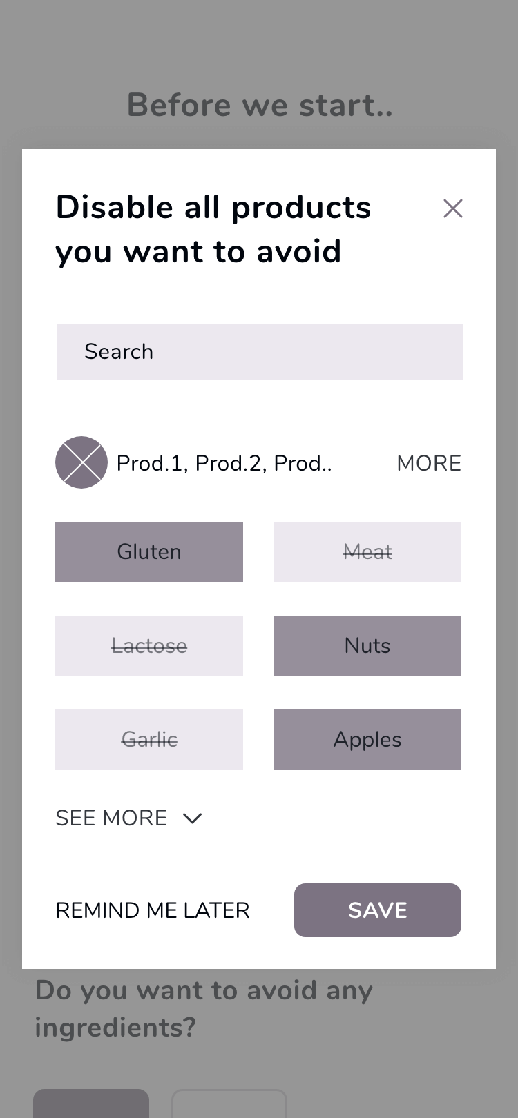 Wireframe from WhatMeal app