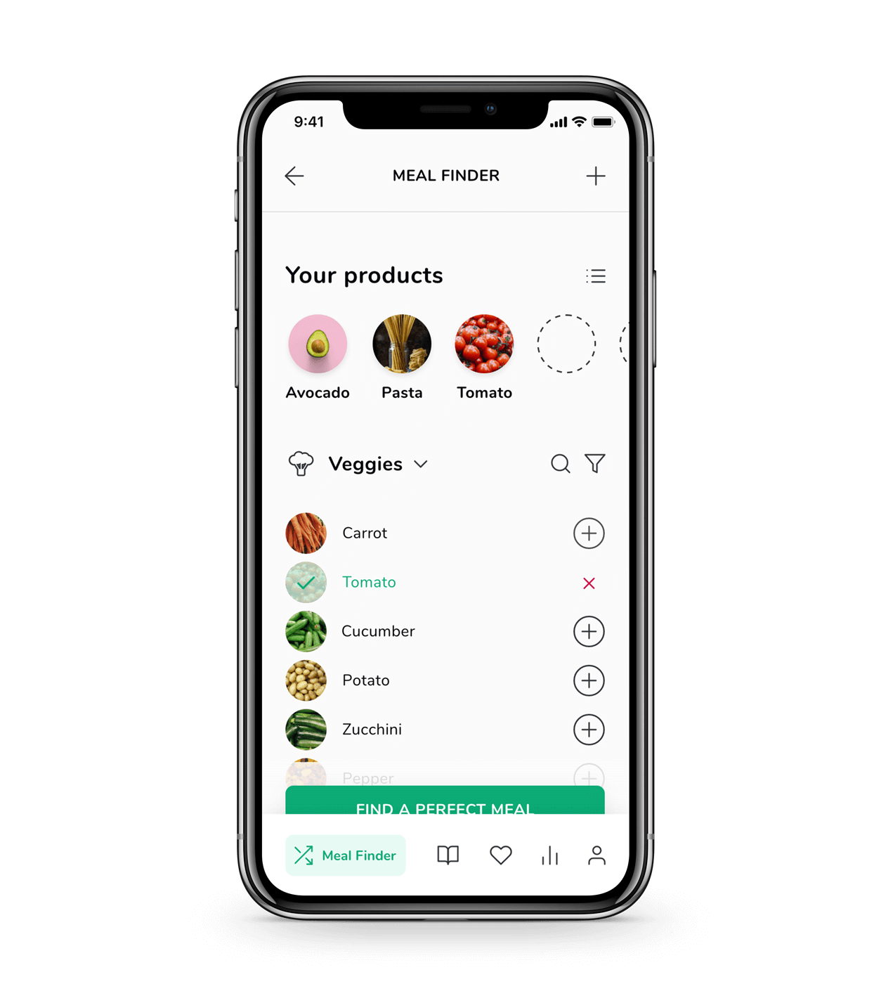 Product selection screen from WhatMeal app