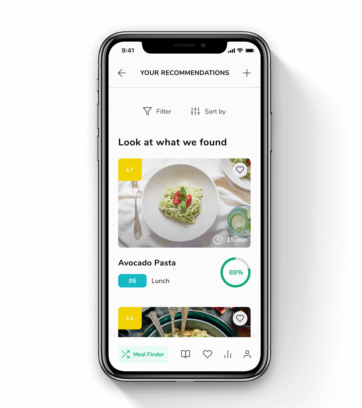 Meal recommendation results screen from WhatMeal app.