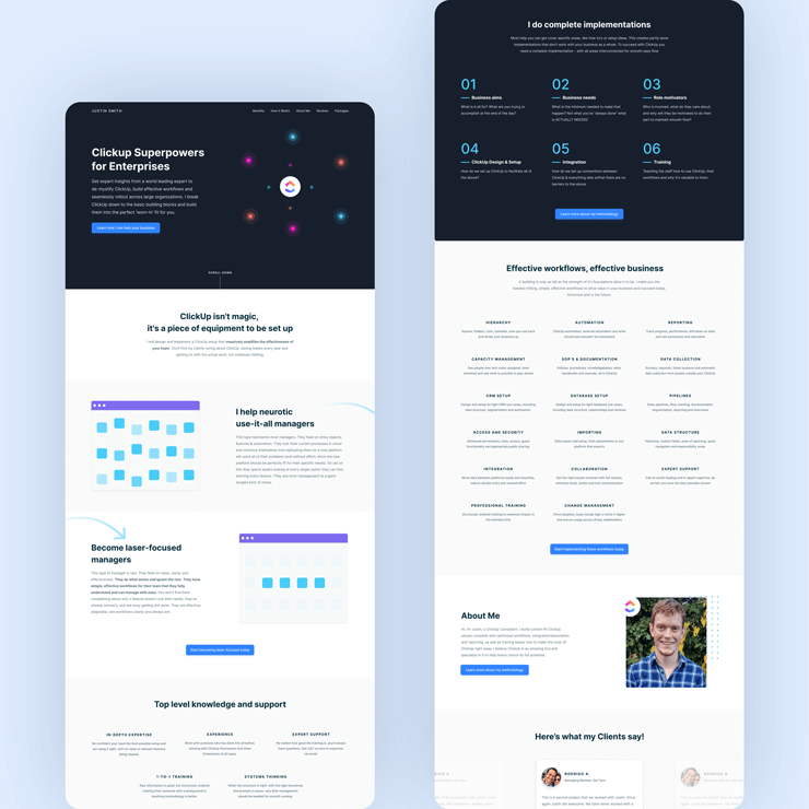 Designs for Landing Page website for ClickUp consultant