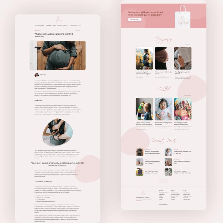 Designs for MyNine pregnancy blog website