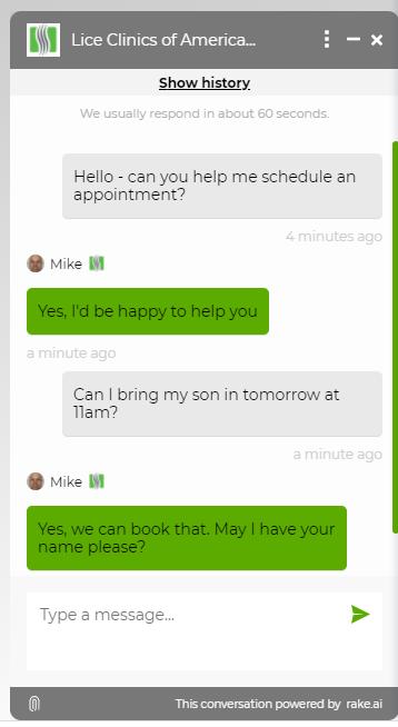 Lice Clinics of America chat widget