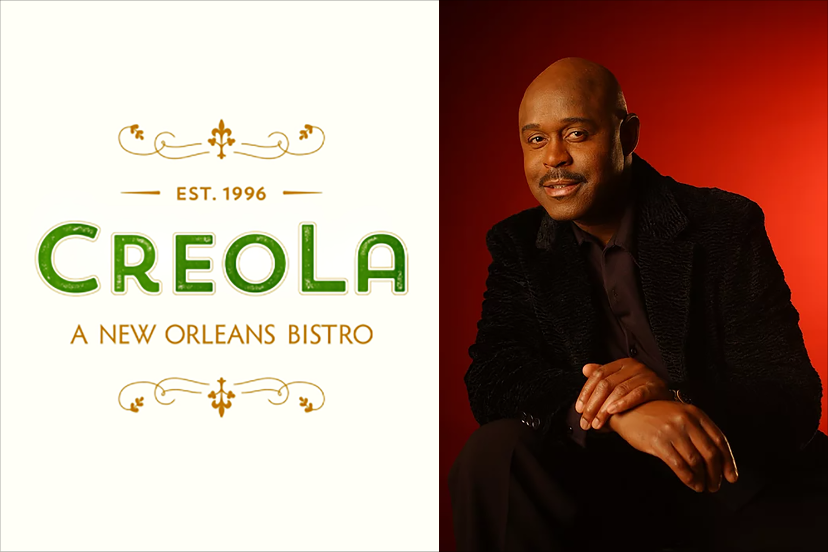 Company logo for CreoLA Bistro, and an image of grammy award winning musician Tony Lindsay.