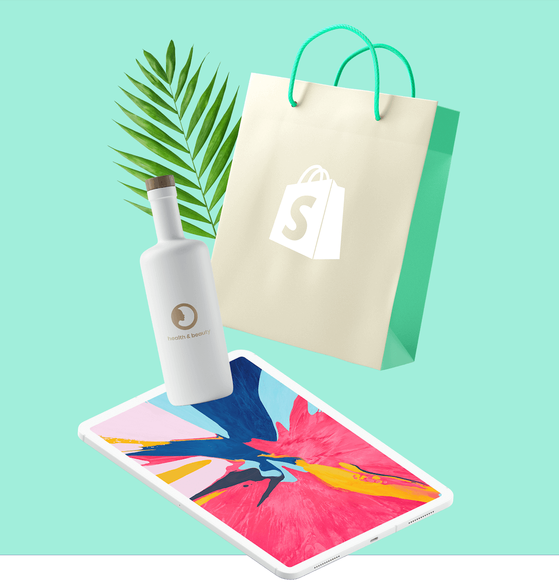 Shopify bag and other Shopify products on a green background