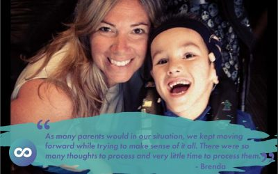 "Brenda and her son Mclain - a quote, ""As many parents would in our situation, we kept moving forward while trying to make sense of it all. There were so many thoughts to process and very little time to process them"""