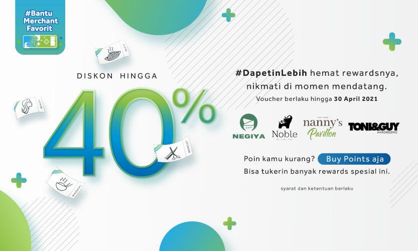 Nikmati Diskon Voucher hingga 40% dan #BantuMerchantFavorit kamu!