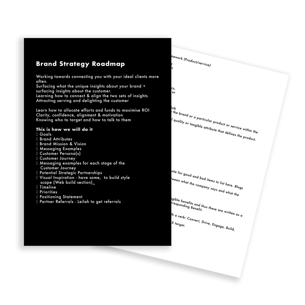 Brand strategy Roadmap Structure