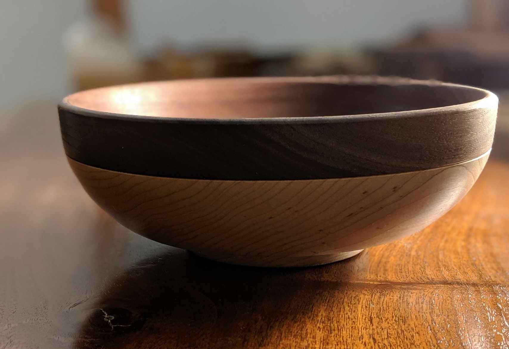 Maple and walnut bowl