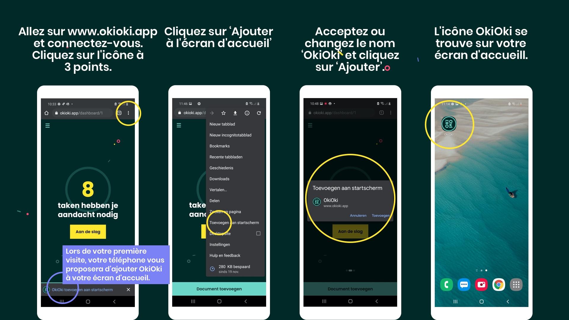 Comment ajouter l'application OkiOki à l'écran d'accueilde votre appareil Android
