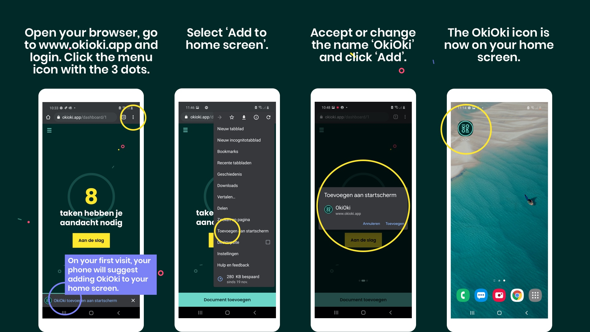 How to add the OkiOki app to the home screen of your Android device