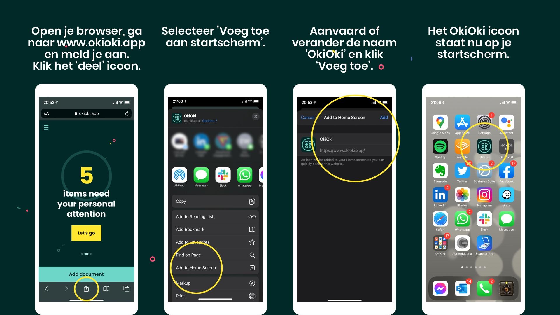 Hoe de OkiOki app aan het startscherm van je Apple toestel toevoegen