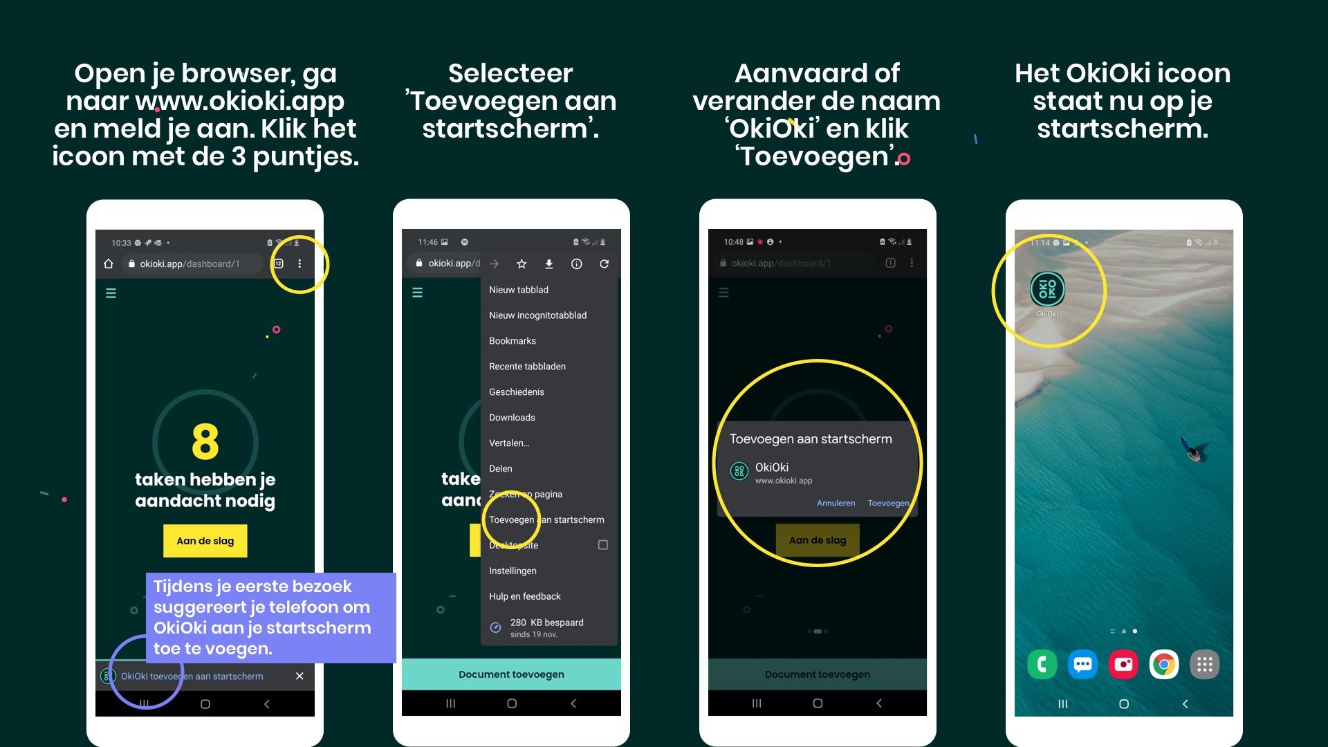 Hoe de OkiOki app aan het startscherm van je Android toestel toevoegen