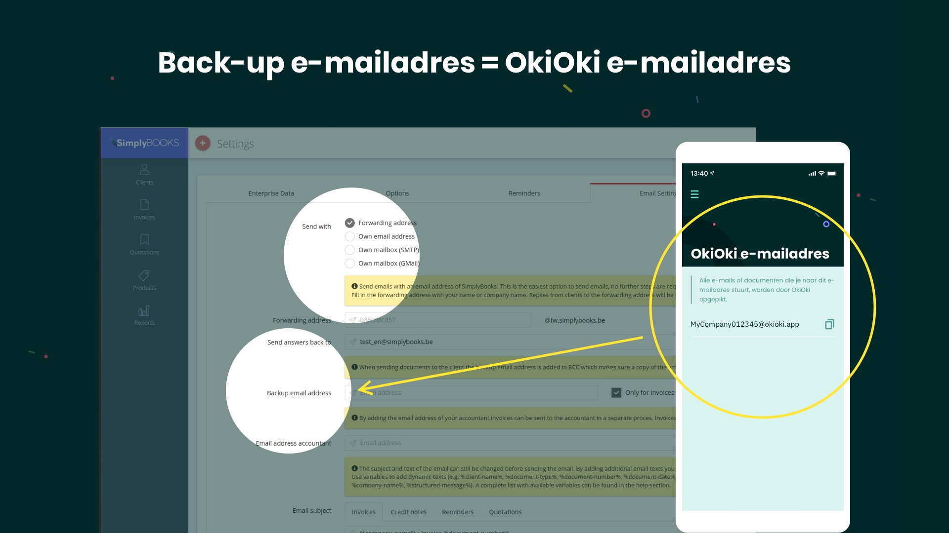 Hoe je SimplyBooks facturen in OkiOki ontvangen