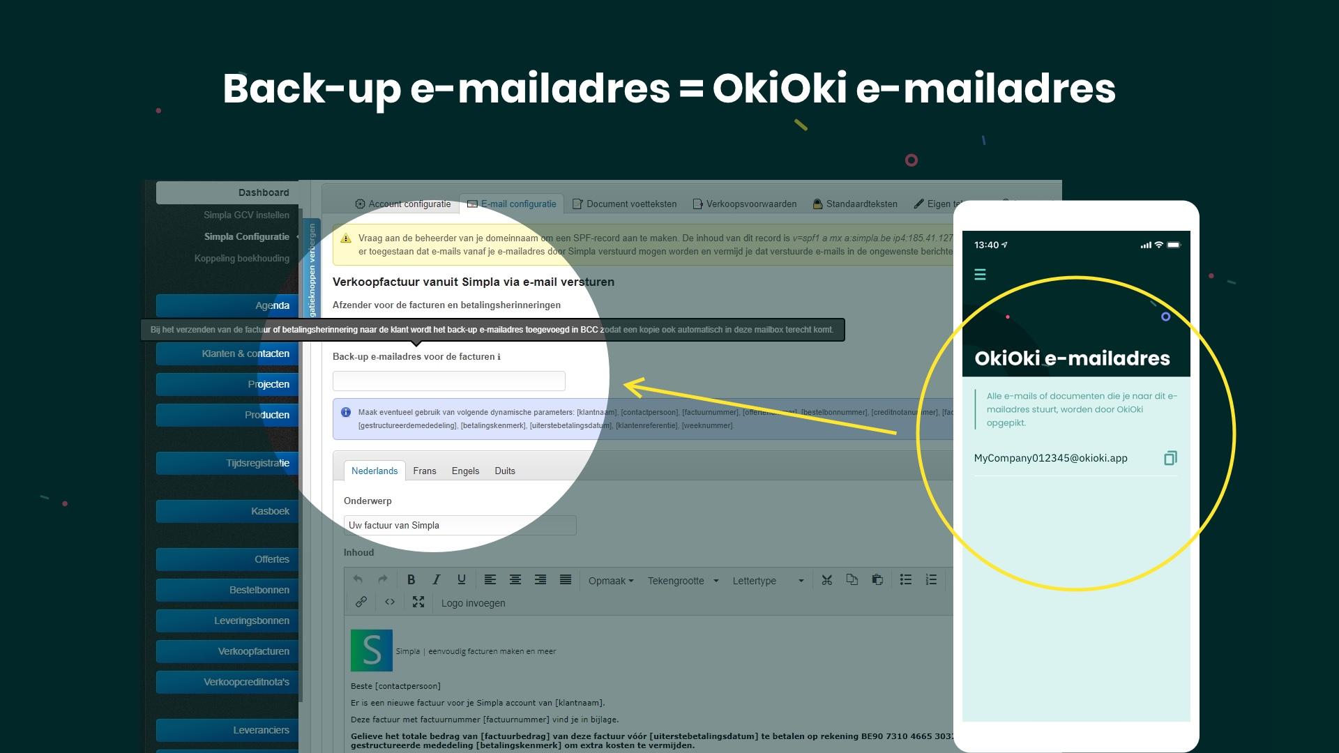 Hoe je Simpla verkoopfacturen in OkiOki ontvangen