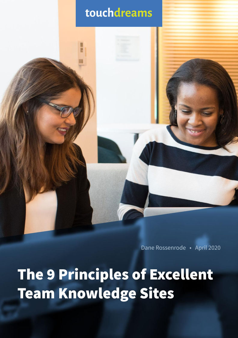 Cover page from Touchdreams document: The 9 Principles of Excellent Team Knowledge Sites