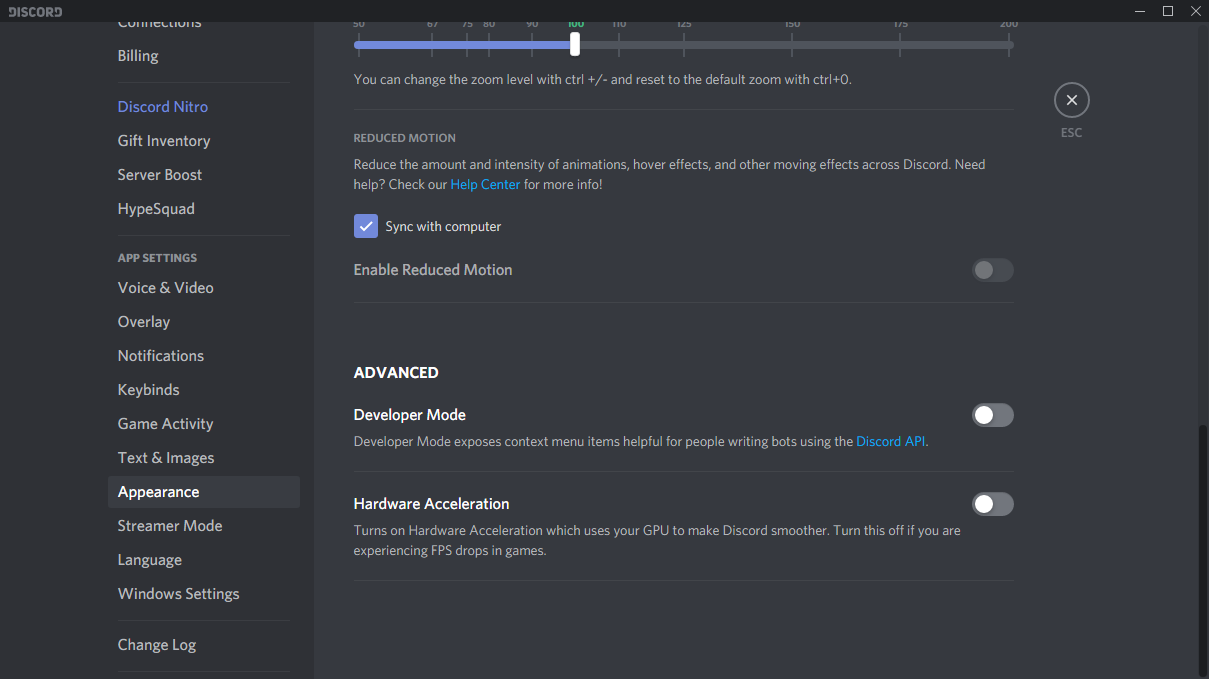 Discord Appearance Settings - CSGO Performance Boost