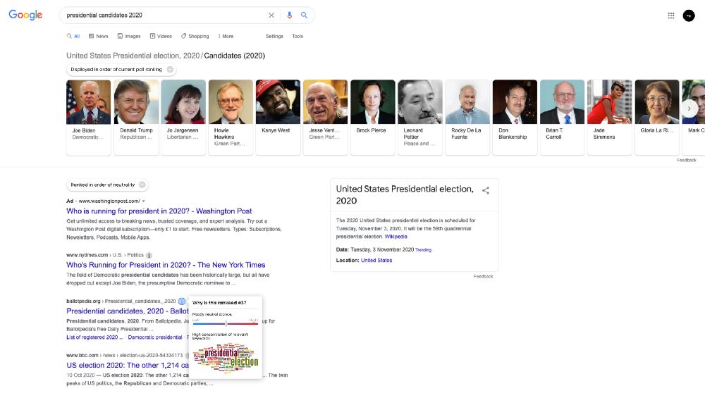 Google search results with indication as to why results appear the way they do