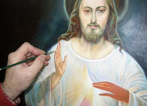 jesus de la misericordia siendo pintado