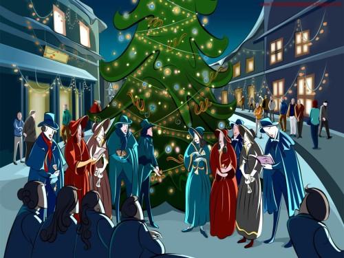 dibujo de villancicos frente a un arbol de navidad