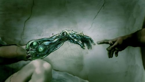 mano-bionica-y-natural-que-se-tocan-transhumanismo