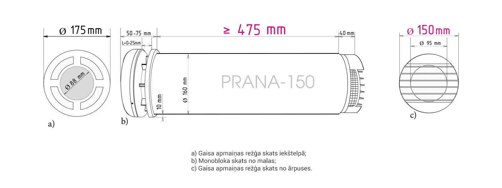 Prana-150 rekuperators, izmēri