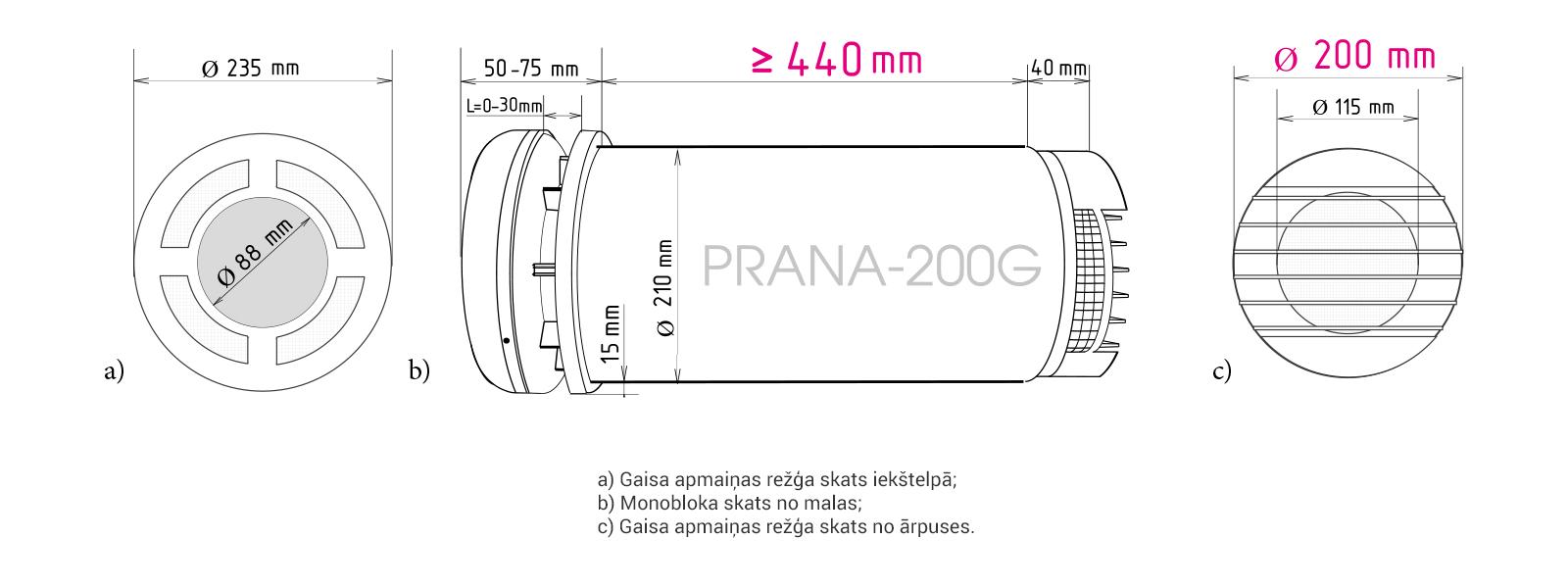 Prana-200G rekuperatora izmēri