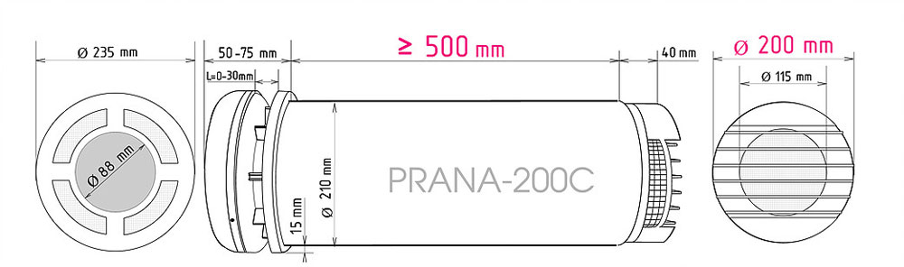Prana-200C rekuperatora izmēri
