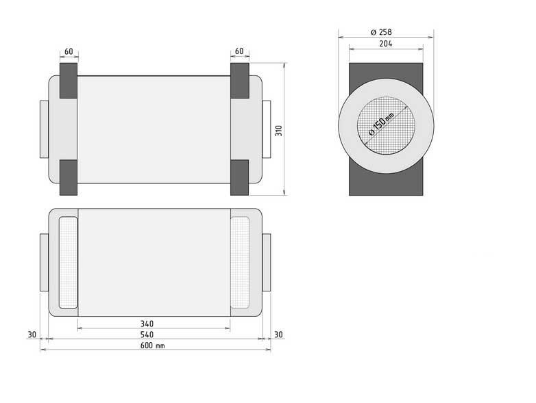 Prana-250 rekuperatora izmēri