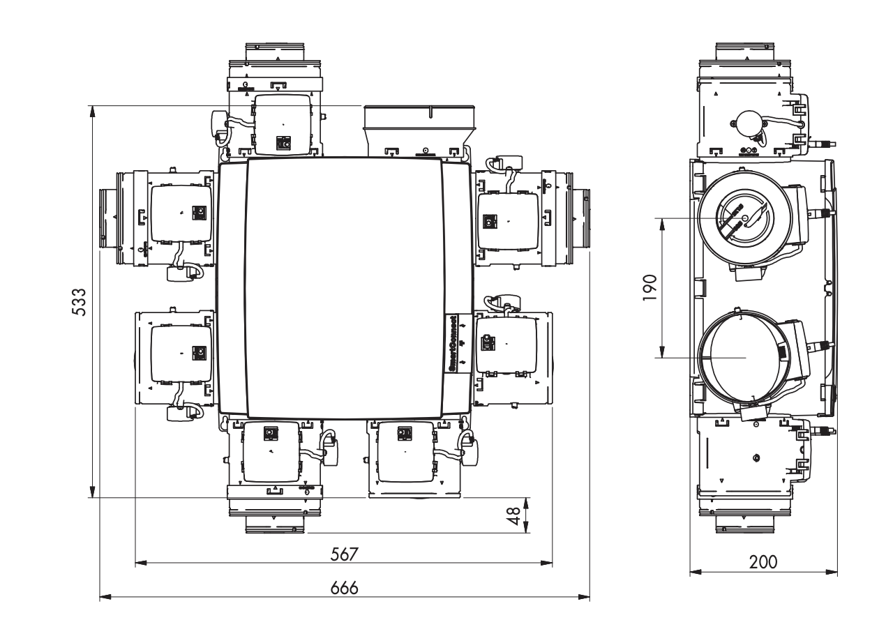 Ventilācija RENSON Healthbox 3.0 Set izmēri