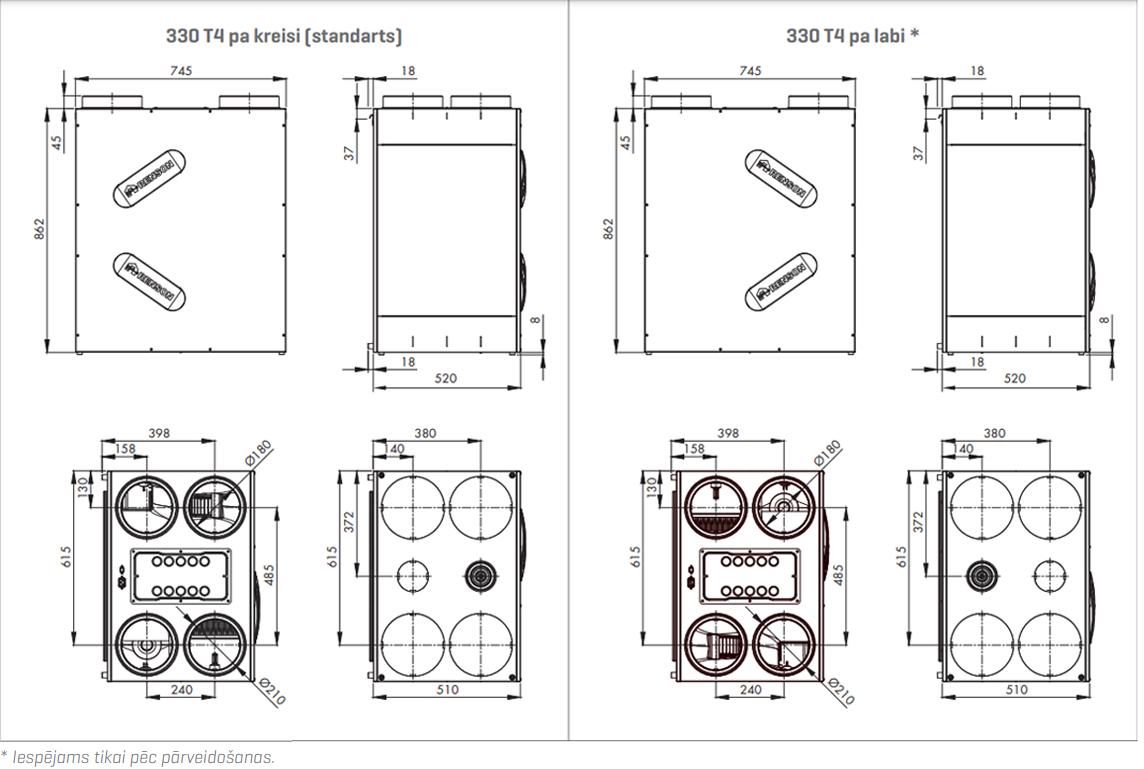 Renson Endura® Delta 330 T4 tehniskais zīmējums