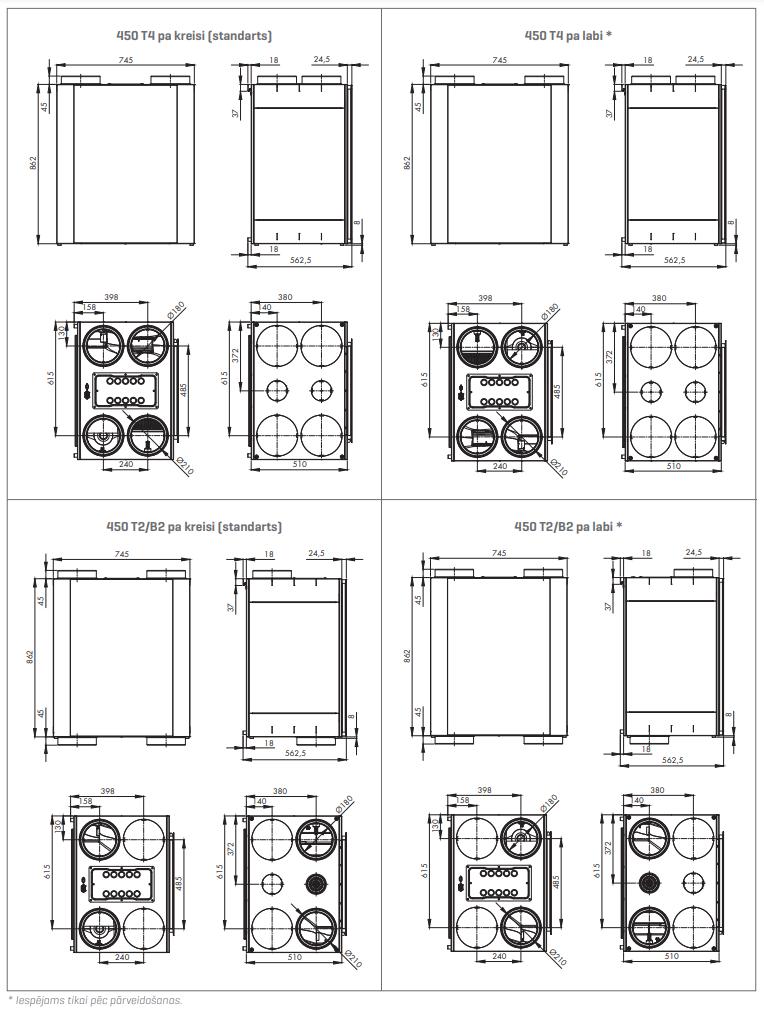 Renson Endura® Delta 380 tehniskie zīmējumi