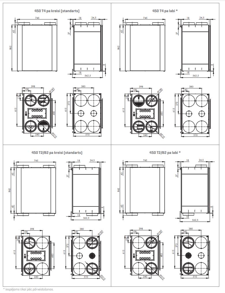 Renson Endura® Delta 450 tehniskie zīmējumi
