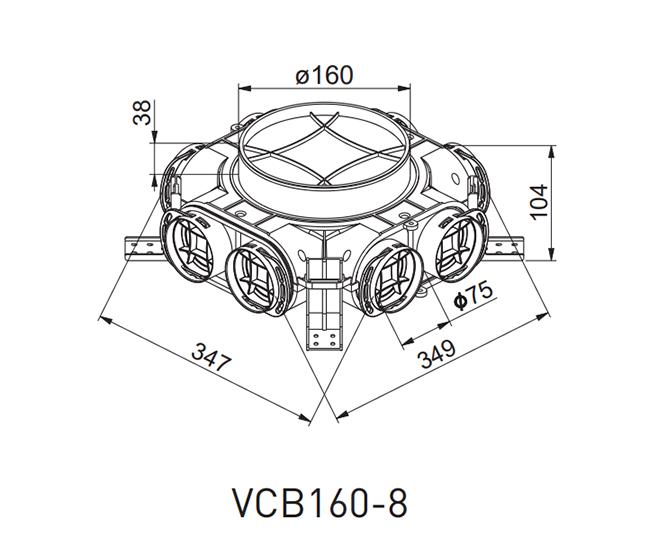 Awenta VCB160-8 gaisa sadales kārbas izmēri