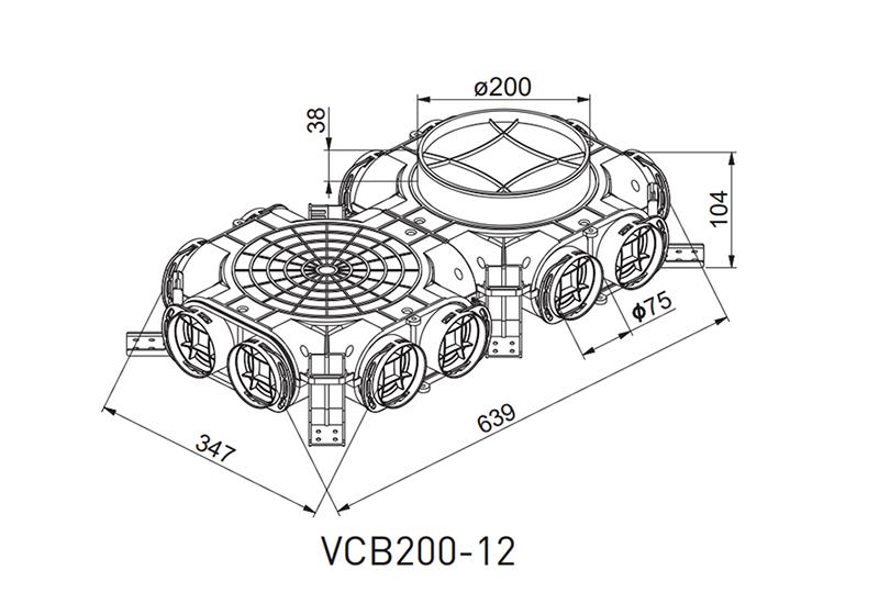 Awenta VCB200-12 gaisa sadales kārbas izmēri