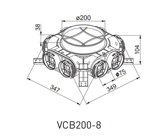 Awenta VCB200-8 gaisa vadu sadales kārbas izmēri