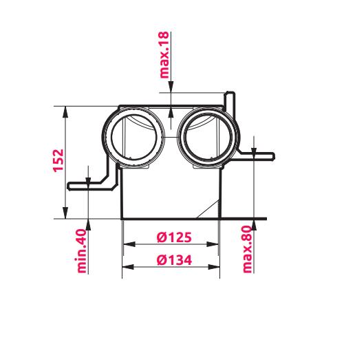 Awenta VPB125-2 izmēri 2