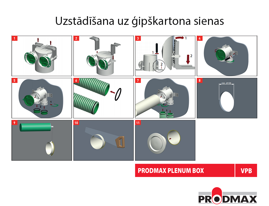 Prodmax VPB125-2 uzstādīšana uz ģipškartona sienas