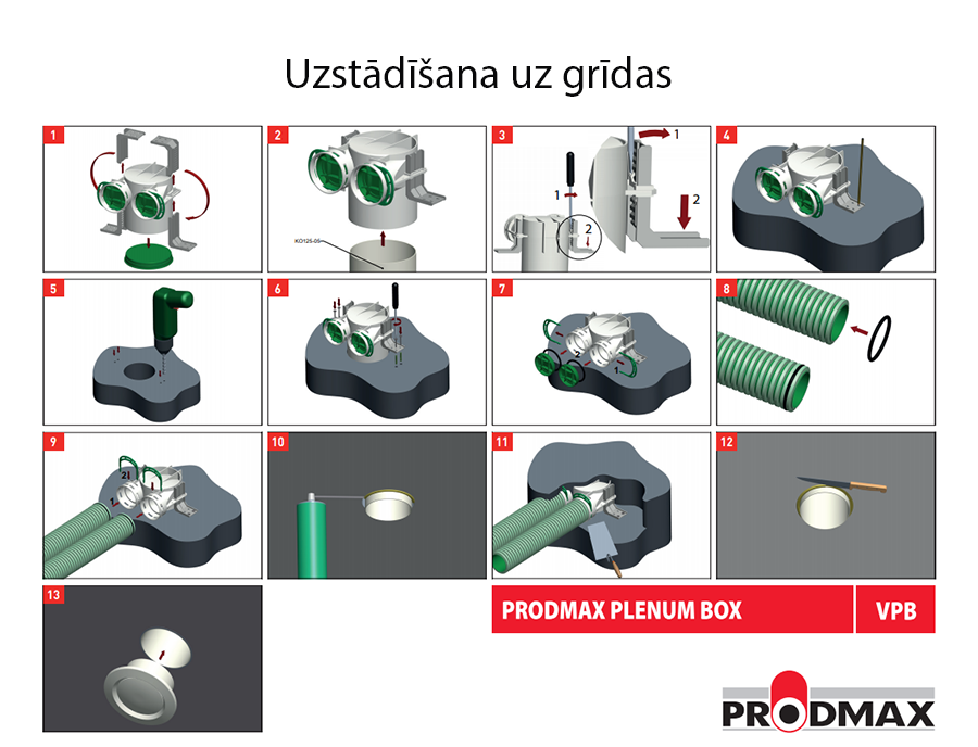 Prodmax VPB125-2 uzstādīšana uz grīdas