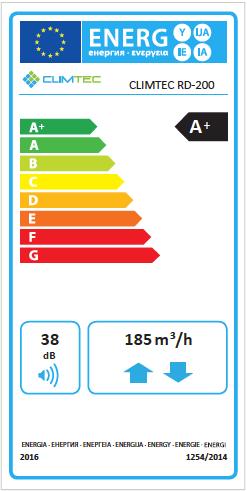 Climtec RD-200 Standard enerģijas klases uzlīme