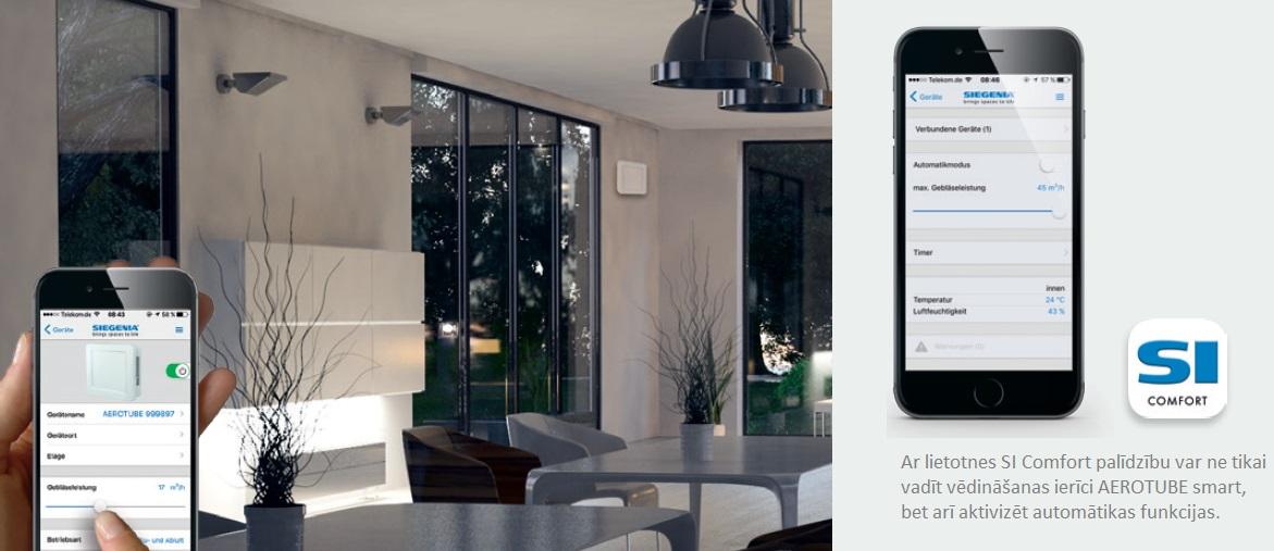 Siegenia Aerotube WRG smart mobilā lietotne