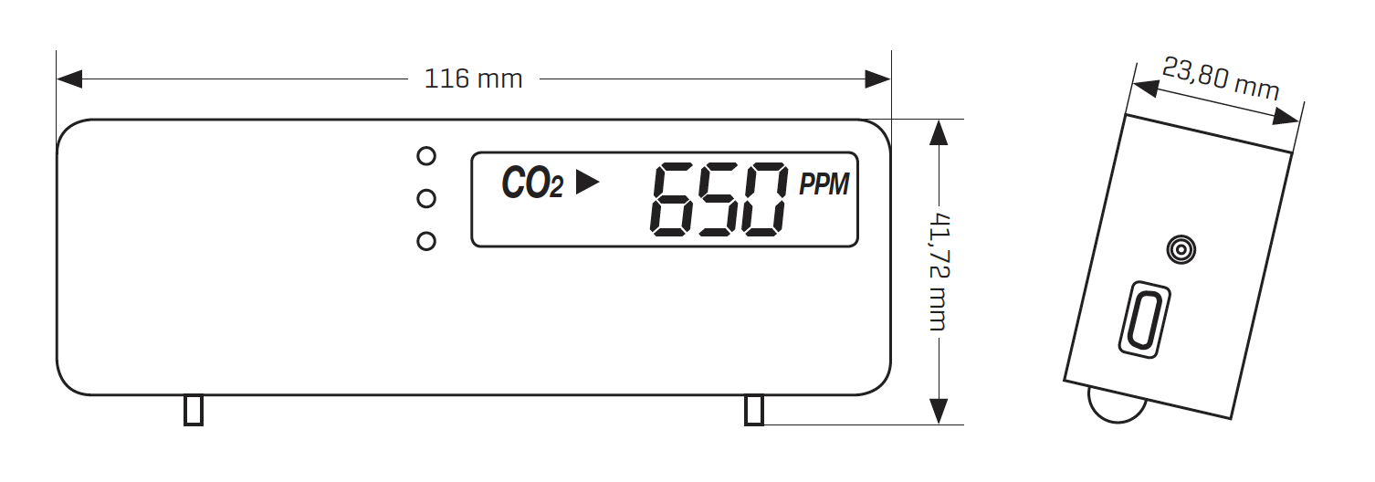 renson co2 monitor gaisa kvalitātes sensors G0017485 izmēri