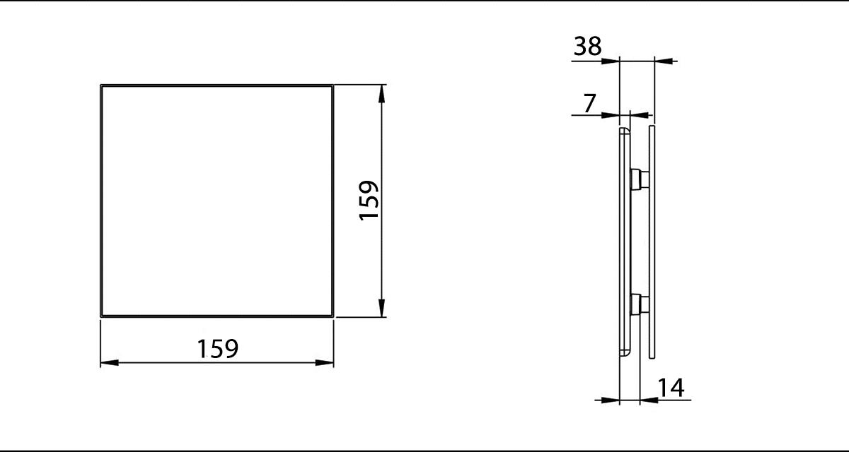 Awenta TRAX, ventilatora priekšējā paneļa izmēri